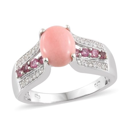 Shop LC - 925 Sterling Silver Platinum Plated Peach Opal