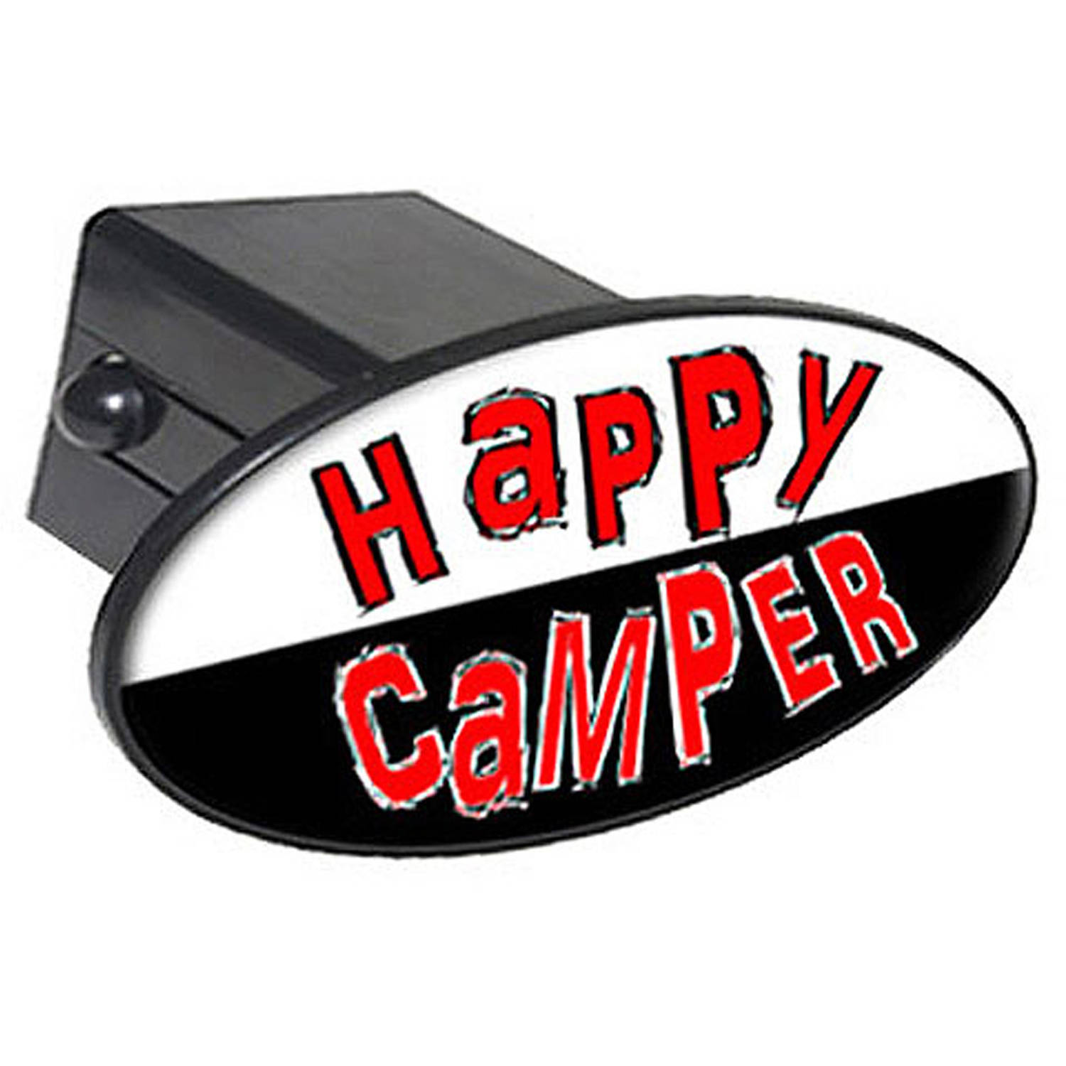 """Happy Camper 2"""" Oval Tow Trailer Hitch Cover Plug Insert"""