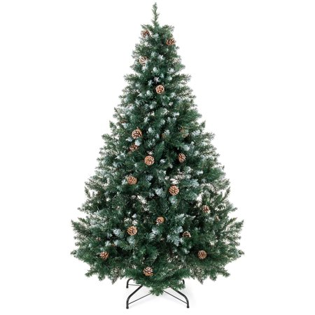 Best Choice Products 6ft Hinged Artificial Christmas Tree for Home Living Room Festive Holiday Decoration w/ Snow Flocked Tips, Pine Cones, Metal Stand - Green
