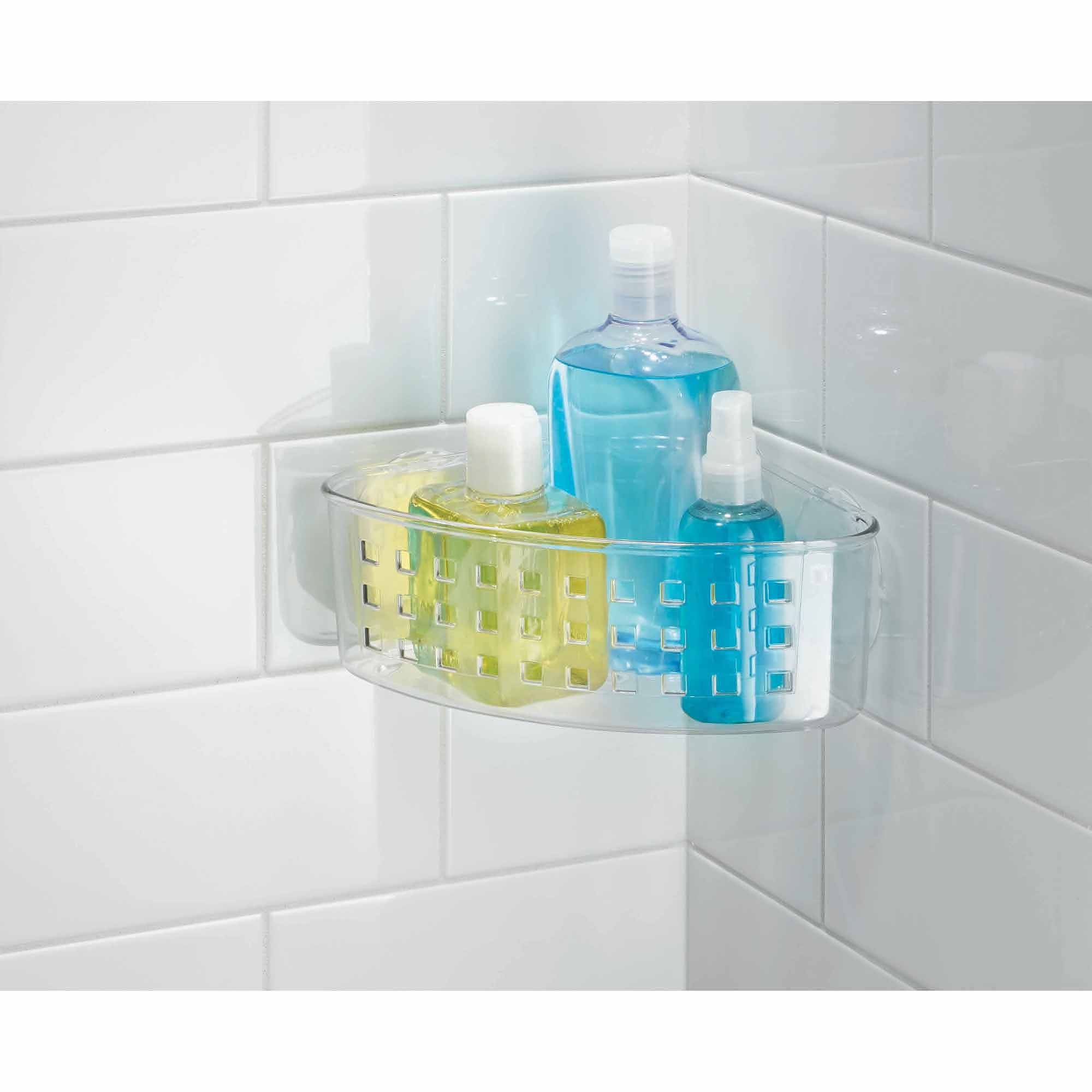 InterDesign Bathroom Shower Suction Corner Basket for Shampoo ...