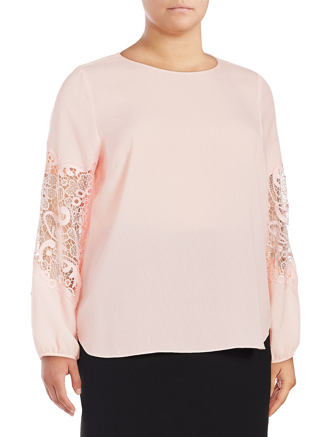 Plus Lace-Sleeve Blouse