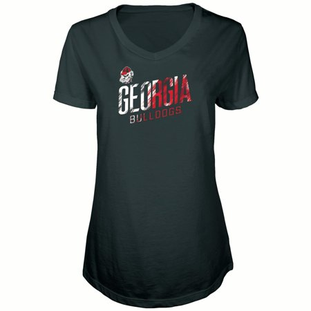 Women's Russell Black Georgia Bulldogs Tunic Cap Sleeve V-Neck T-Shirt - Bethlehem Georgia
