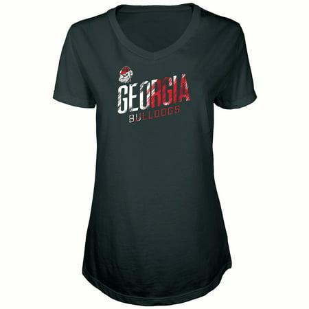 Bulldogs Tee Pack - Women's Russell Black Georgia Bulldogs Tunic Cap Sleeve V-Neck T-Shirt