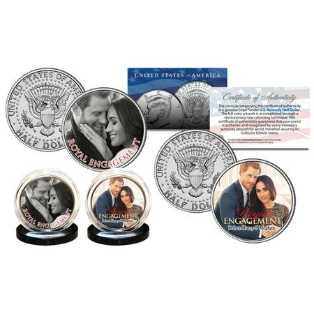 Prince Harry   Markle Royal Engagement Official Photo Jfk Half Dollar 2 Coin Set