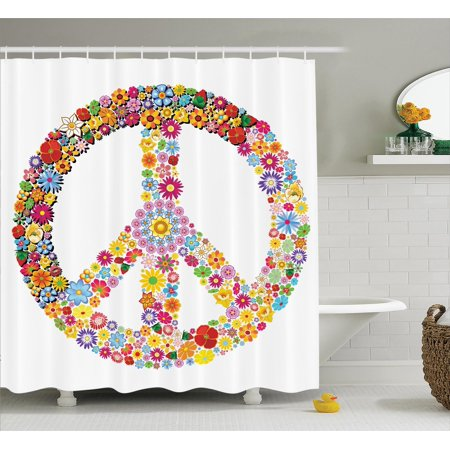 Summer Of Love Theme (Groovy Decorations  Floral Peace Sign Summer Spring Blooms Love Happiness Themed Illustration Print, Bathroom Accessories, 69W X 84L Inches Extra Long, By)
