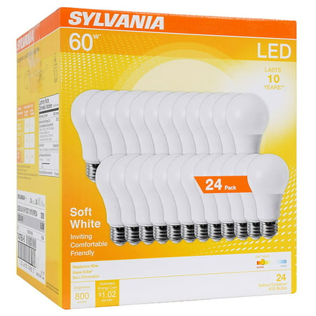 Sylvania LED Light Bulbs, 8.5W (60W Equivalent), Soft White, 24-count