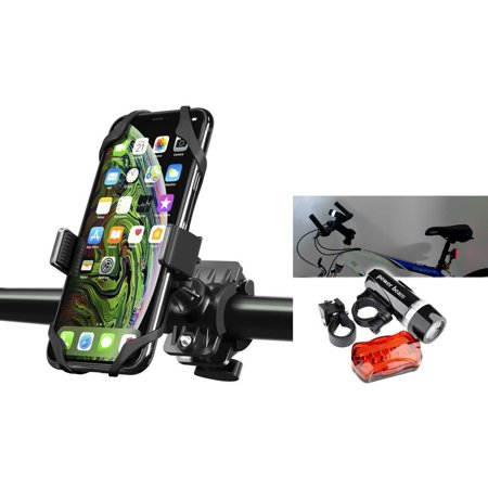 Insten Bike Bicycle Motorcycle Handlebar w/ Secure Grip 360 Ball Head Mount + Front Headlight Rear Lamp