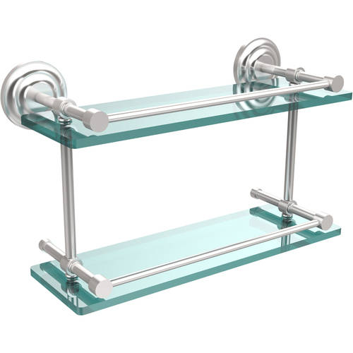 """Que New 16"""" Double Glass Shelf with Gallery Rail"""