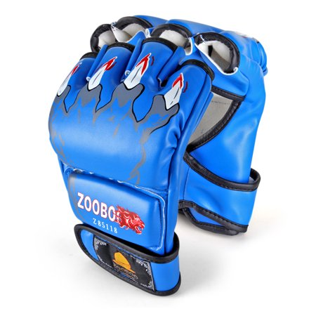 MMA Gloves (Claws Print, Blue) - 8oz Grappling Muay Thai Martial Arts Combat UFC Sparring Punching Boxing PU Leather Training Mitts with Velcro Strap, One Pair for Adult Men