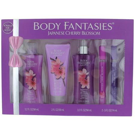 - Japanese Cherry Blossom 5 Piece Kit, This fragrance gift set includes 3.2 oz Body Spray, 2 oz Lotion, 3.2oz Body Wash and a .5 oz Eau de toilette By Body Fantasies