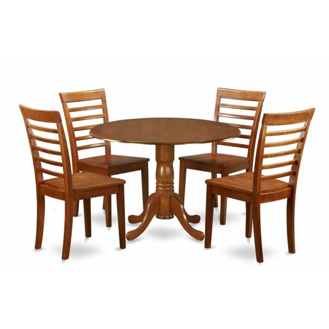 East West Furniture DLML5-SBR-W 5PC Kitchen Round Table with 2 Drop Leaves and 4 Ladder-back Chairs with wood Seat