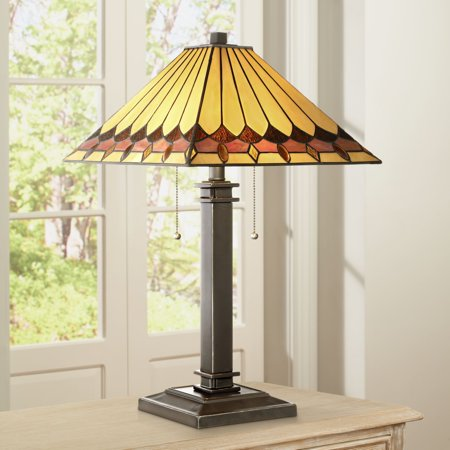 Robert Louis Tiffany Mission Accent Table Lamp Bronze Amber Art Glass Shade for Living Room Family Bedroom Bedside Office