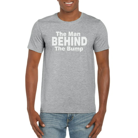 The Man Behind the Bump Expecting Dad Pregnant Wife T-Shirt Gift Idea for Men (Eighties Clothing Ideas)