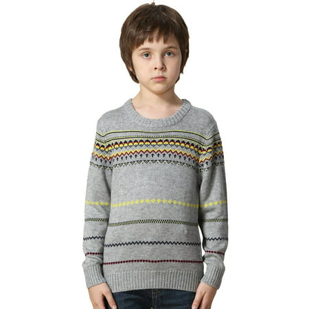 Leo&Lily Boys' Wool Blends Casual Dobby Sweater Pullover (Pullover Boys Sweater)