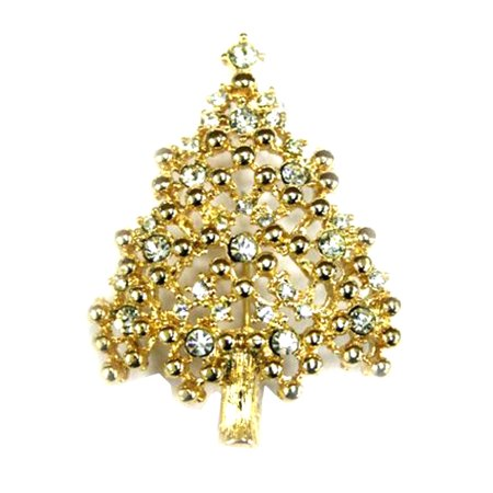 Sparkling Gold Tone Christmas Tree Pin With Rhinestone Ornaments