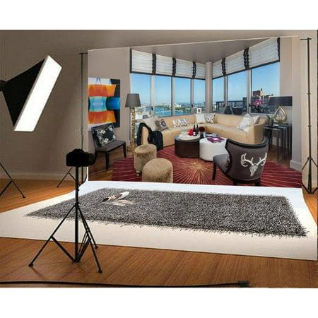 GreenDecor Polyster 7x5ft Living Room Backdrop Sofa French Sash Tables Frame Carpet Interior Photography Background Kids Children Adults Photo Studio Props](Carpet Photo)