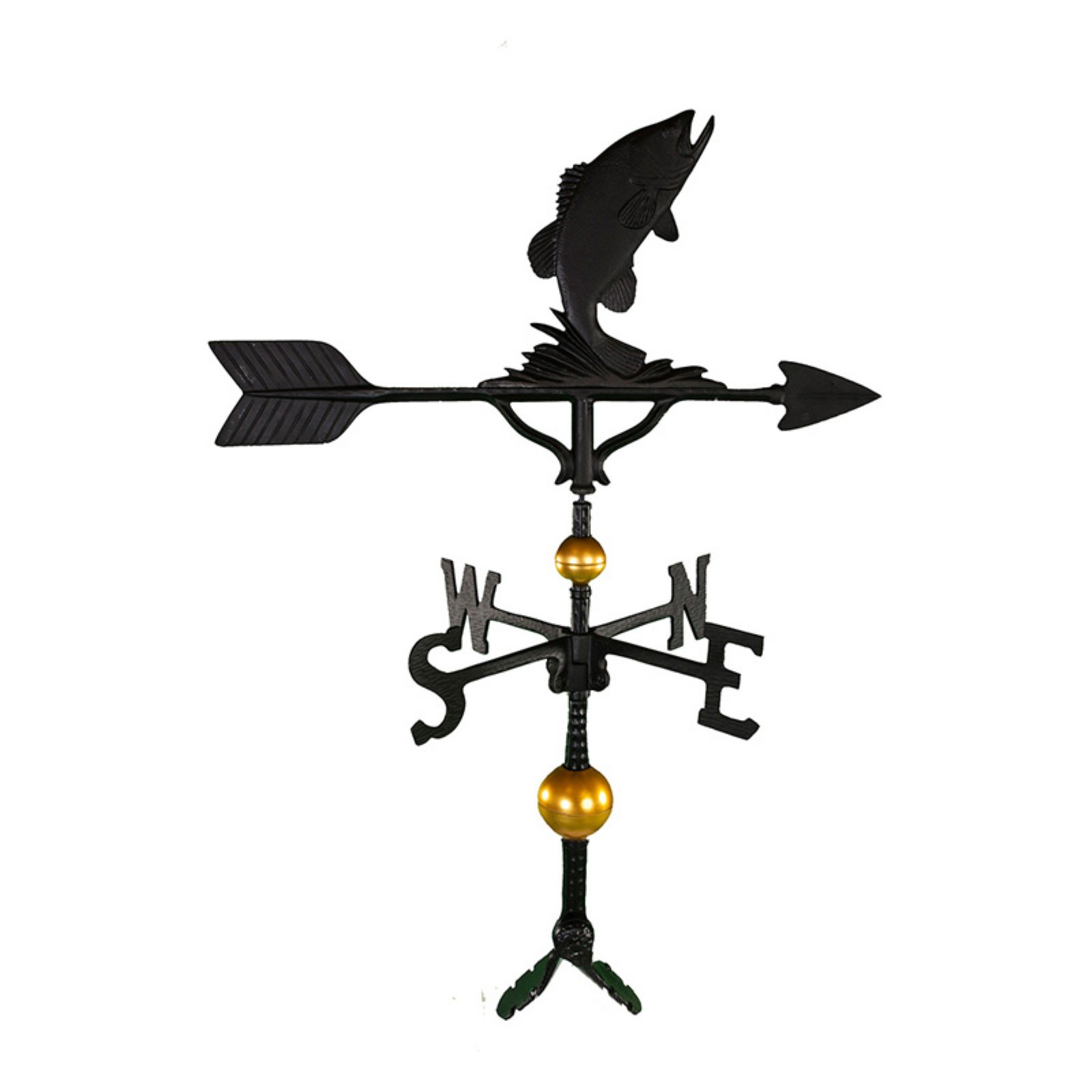 Deluxe Black Bass Weathervane 32 in. by Montague Metal Products
