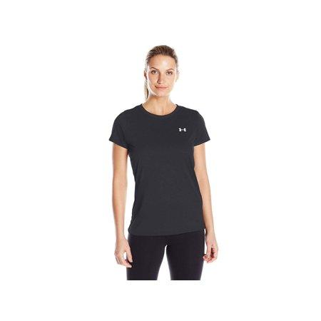 under armour women's tech t-shirt, black/metallic silver, medium