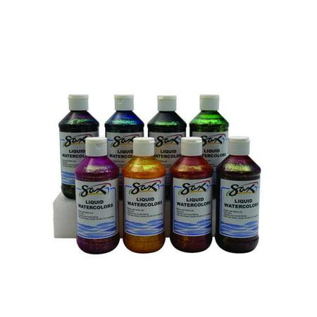 SAX 1567860 8 oz Washable Liquid Watercolor Paint, Assorted Glitter Colors - Set of 6 ()