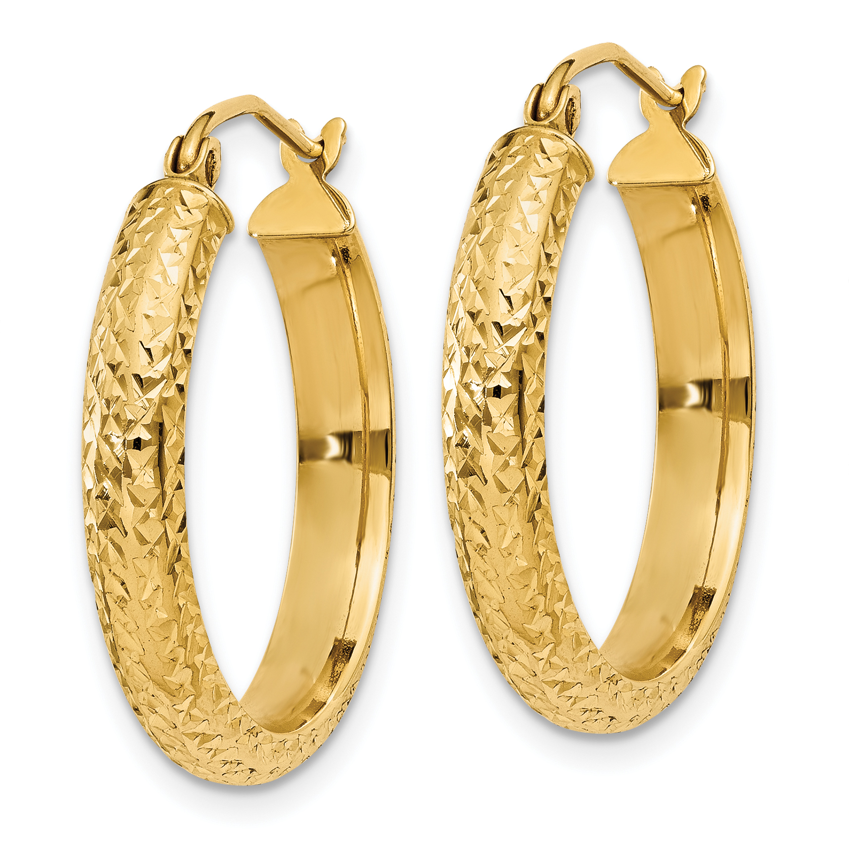 14K Yellow Gold Diamond Cut 3.5x22mm Hollow Hoop Earrings - image 3 de 4