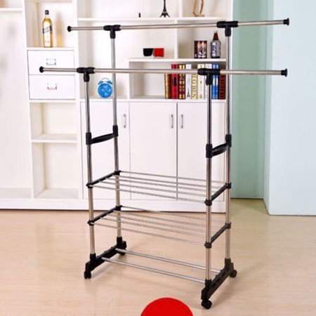 Double Hanging - UBesGoo Double Clothes Rail Portable Hanging Garment Dress On Wheels With Shoe Rack
