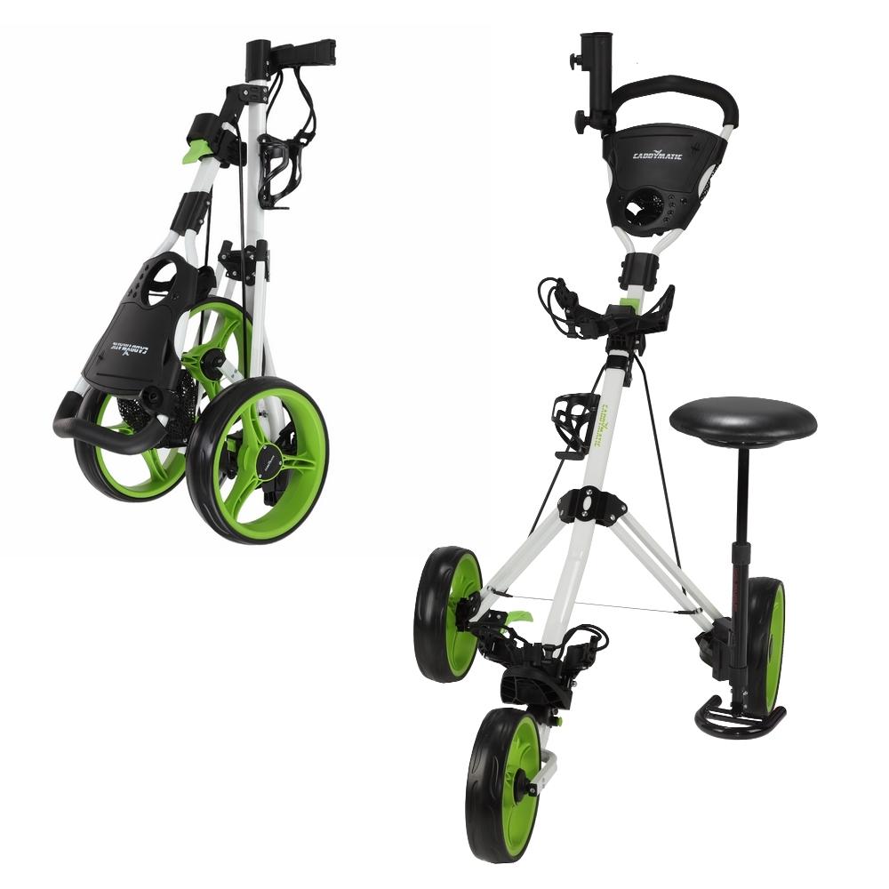 Caddymatic Golf X-TREME 3 Wheel Push Pull Golf Cart with Seat White Green by Caddymatic