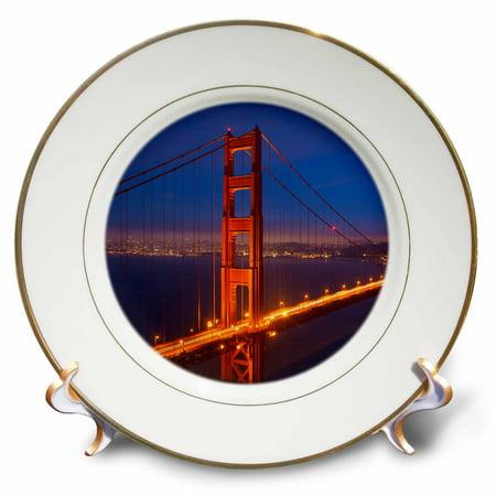 3dRose California, San Francisco. Golden Gate Bridge lit at night. - Porcelain Plate, 8-inch