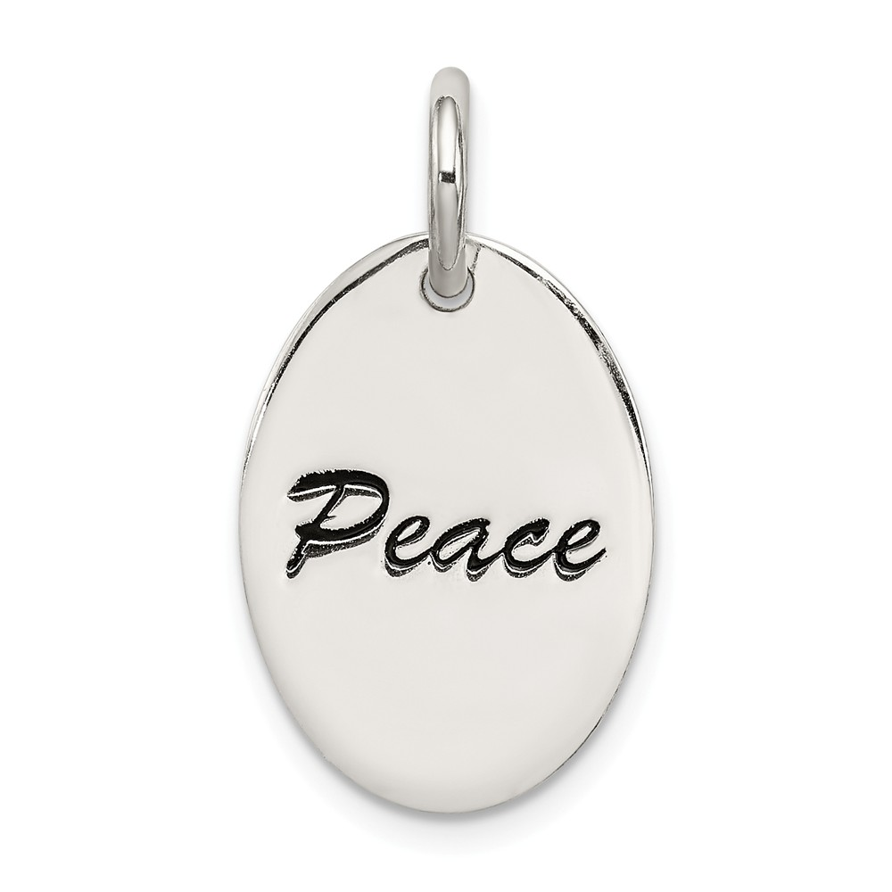 Sterling Silver Engravable Polished Enameled Oval Peace Pendant