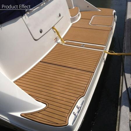 91''x35'' Marine Flooring Synthetic Teak EVA Foam Boat Decking Sheet Self-Adhesive Mat 6mm Thicknes, Gold with Black Line - image 4 of 8