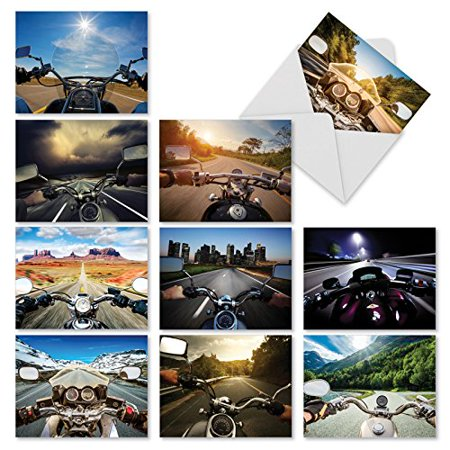'M2356OCB VROOM WITH A VIEW' 10 Assorted All Occasions Note Cards Featuring a Behind the Handlebars View of a Cross Country Roadtrip with Envelopes by The Best Card