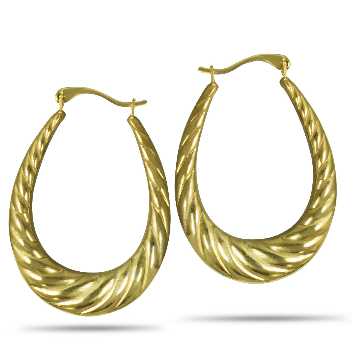 Gold Plated, Sterling Silver Oval Ridge Creole Hoop Earrings
