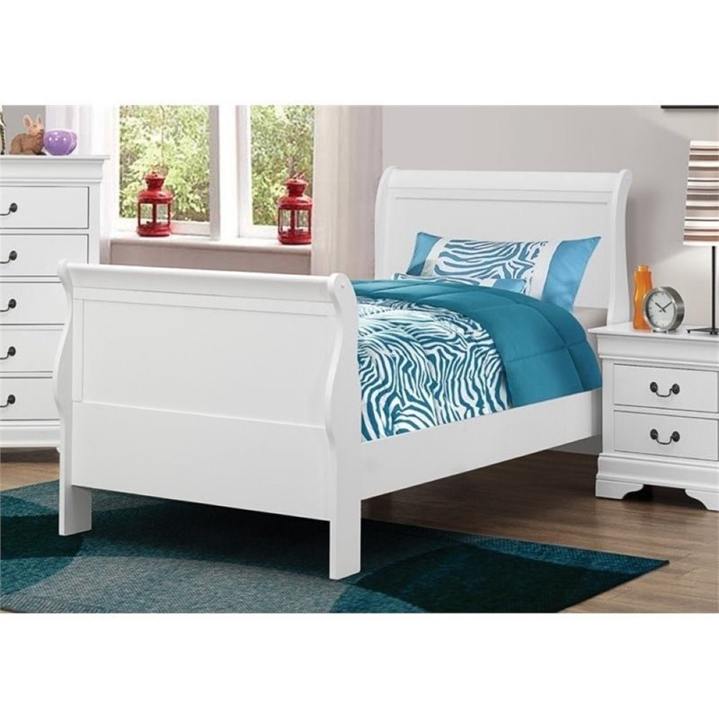 Bowery Hill Twin Sleigh Bed in White by Bowery Hill