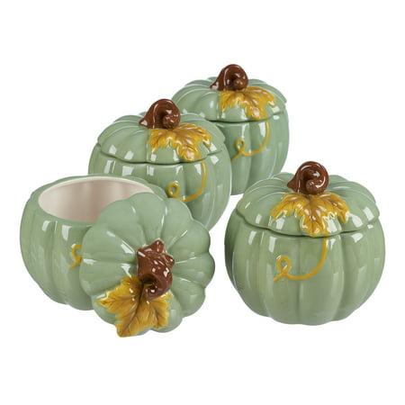 Way to Celebrate Pumpkin 4-Piece Candy Jar Set, -