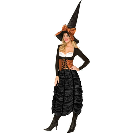 Living Fiction Halloween Coffin Witch 2pc Women Costume, Black Orange