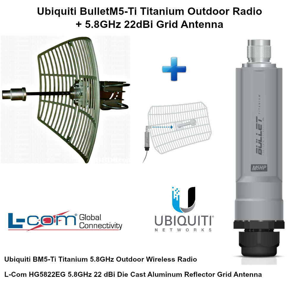 Ubiquiti BulletM5-Ti BM5-Ti Titanium Outdoor Radio + 5.8GHz 22dBi Grid Antenna