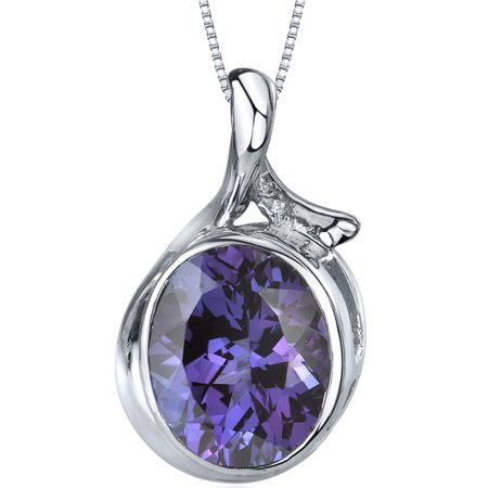 6.75 Carat T.G.W. Oval Cut Created Alexandrite Rhodium over Sterling Silver Pendant, 18