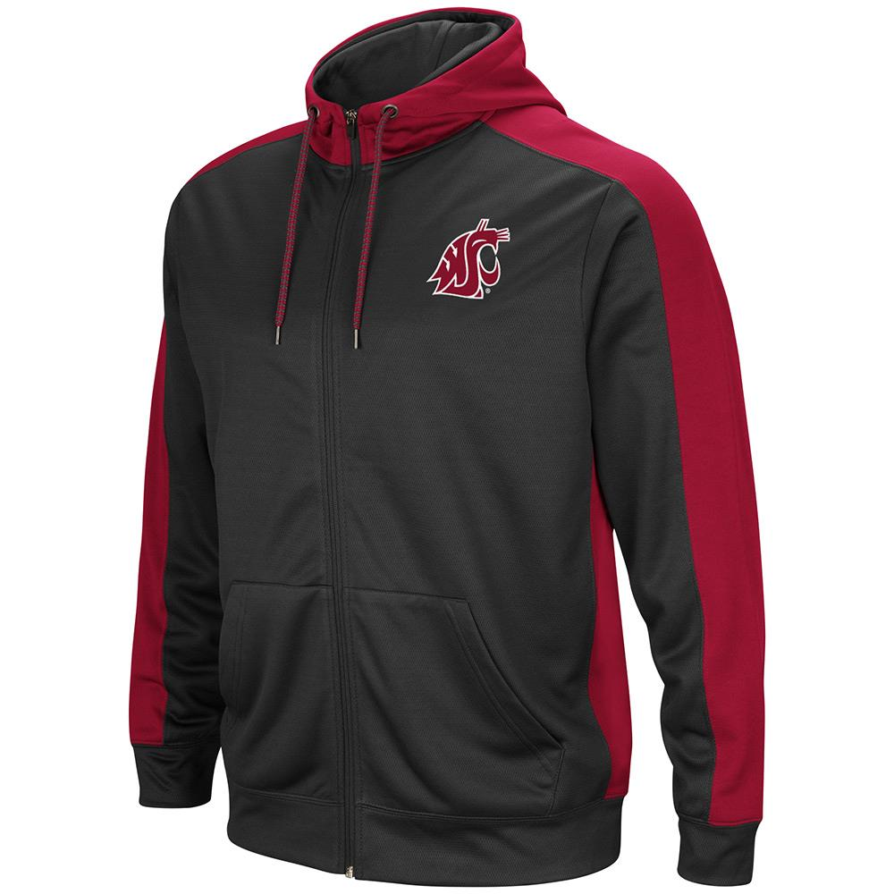 Mens NCAA Washington State Cougars Full-zip Hoodie (Charcoal) by Colosseum