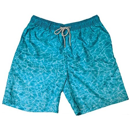 New Wave Swing (Kirkland Signature Mens Swim Short Trunks (M, Teal Ocean Waves) - NEW)