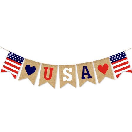 Hibetterlife USA Independence Day Banner Festival Layout Outdoor Interior Ceiling Decoration ()