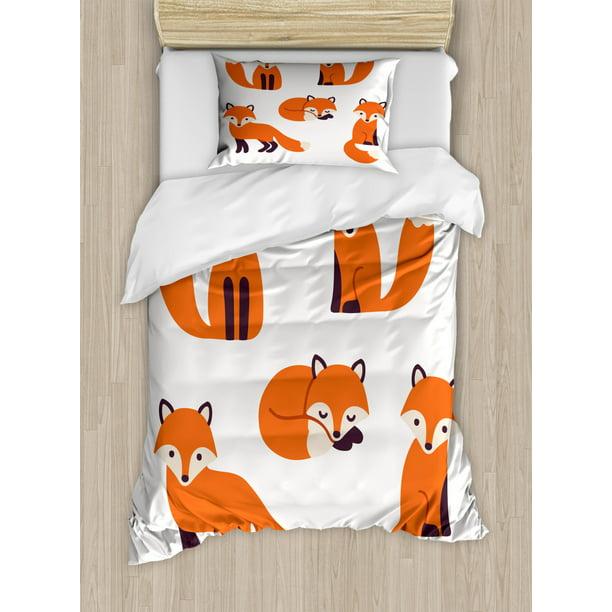 Fox Twin Size Duvet Cover Set Cartoon, Fox Bedding Set