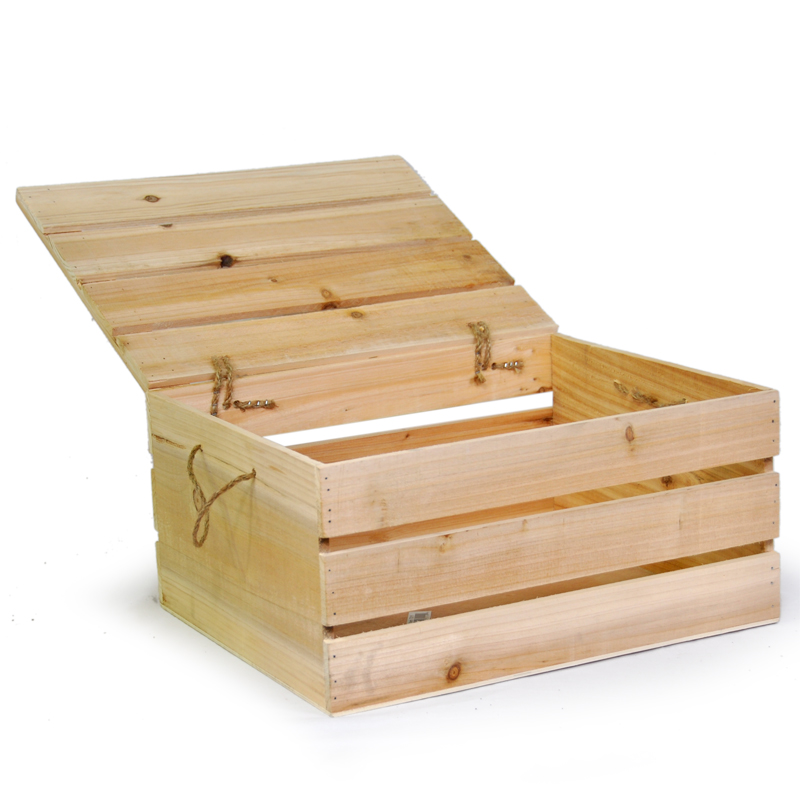 Natural Wooden Crate Storage Box with Lid - Large 15in