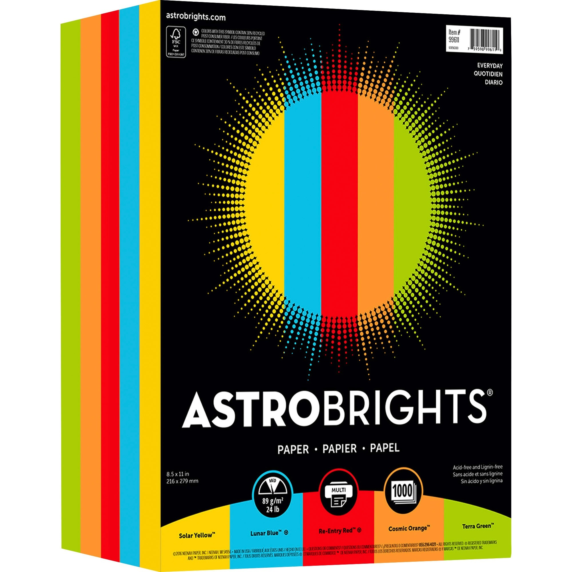 """Astrobrights, NEE99611, Color Paper - """"Everyday"""" 5-Color Assortment, 250 / Pack, Lunar Blue,Terra Green,Cosmic Orange,Re-entry Red,Solar Yellow"""