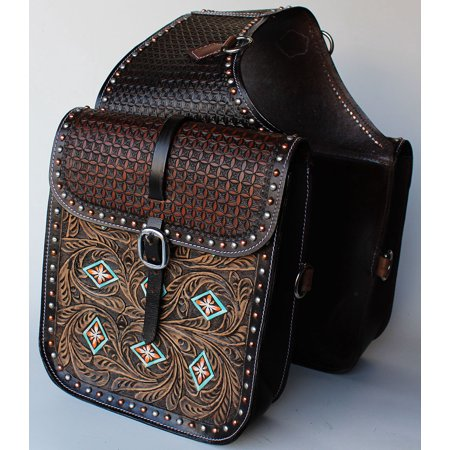 Horse WESTERN SADDLE BAG OR MOTORCYCLE SADDLE BAGS HAND TOOLED LEATHER 10216