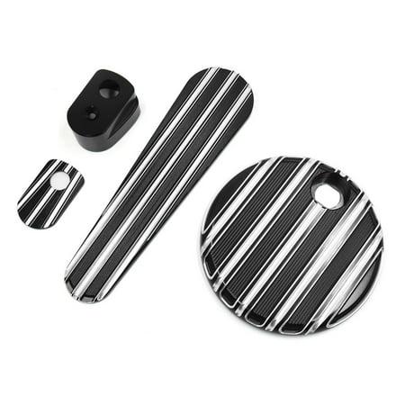 3Pcs Metal Striped Fuel Tank Door Dash Track Ignition Cover for Harley Davidson