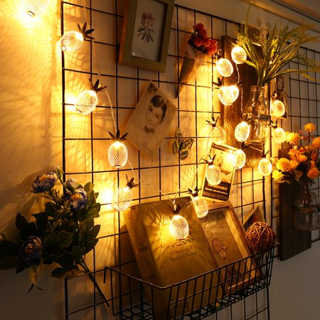 LED String Lights 7.2FT Pineapple Globe String Light, Battery Powered Fairy Lighting for Home Wedding Party Bedroom Birthday Decoration - Warm White, 20 LED, Metal - image 2 de 11