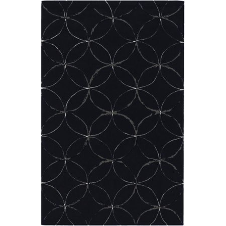 8 Geometric Vortex Federal Blue Hand Tufted Polyester Round Area Throw Rug