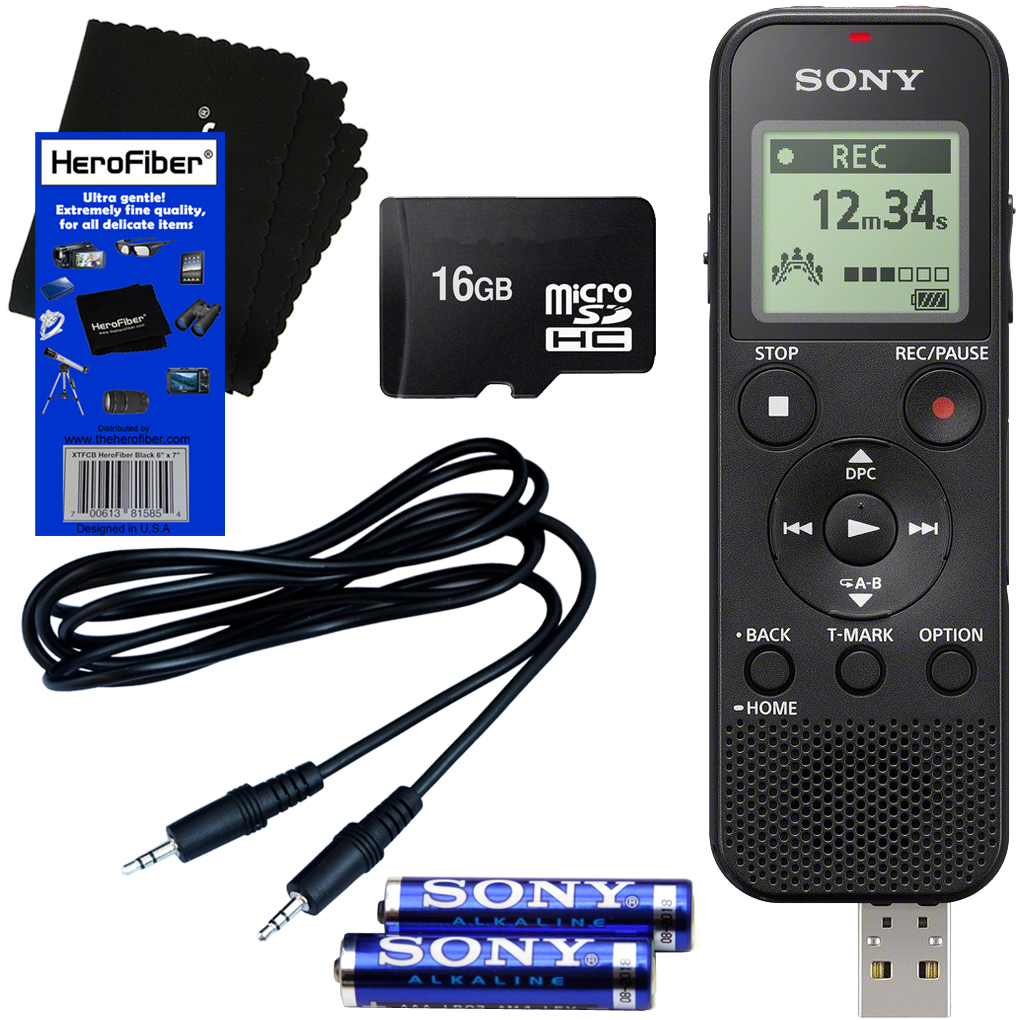 Sony ICD-PX370 Mono Digital Voice Recorder with Built-in 4GB & Direct USB + 16GB Micro SDHC Memory Card + Auxiliary Cable + AAA Batteries + HeroFiber® Ultra Gentle Cleaning Cloth