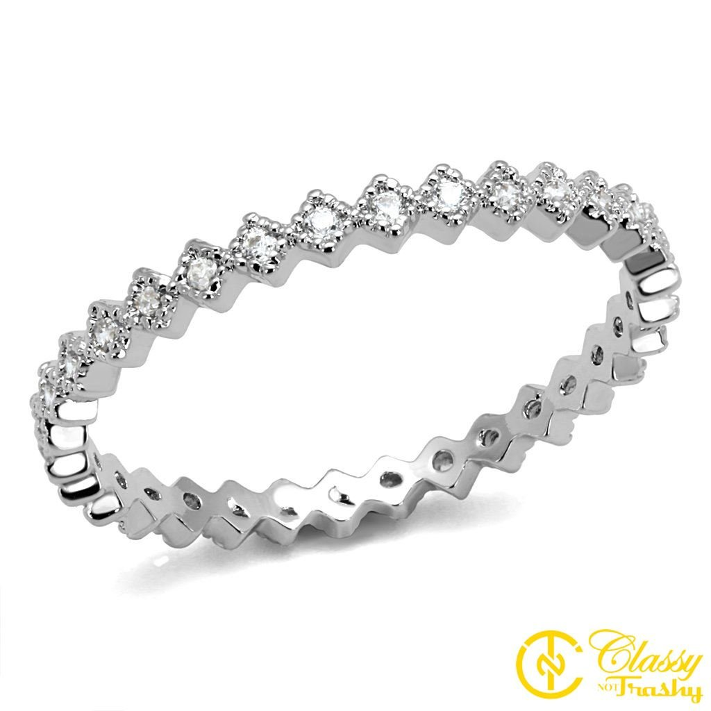 Classy Not Trashy Clear Cubic Zirconia Square Womens