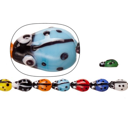 Lamp Worked Glass Beads, Mix Color Ladybug, 10x15mm Sold per pkg of 20pcs/ 30cm String