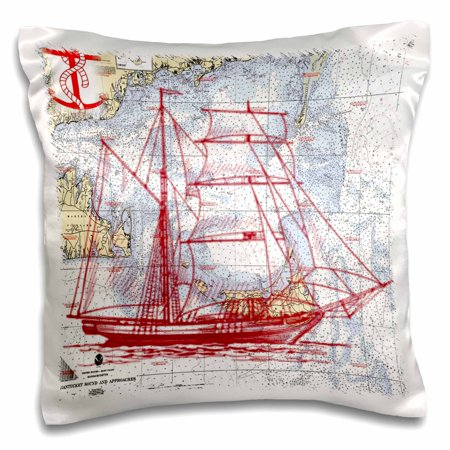 3dRose Print of Nantucket Sound With Red Sailboat - Pillow Case, 16 by 16-inch